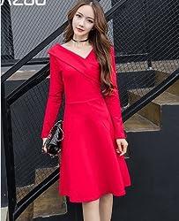 Long Sleeve Dress Strapless Two Women Make Dresses ,Red,s