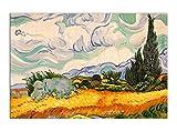 World Art, TWVG024IAT-01, Campo di grano e cipressi, Dipinti olio su tela Falsi d'autore, 60 x 90 x 2 Cm