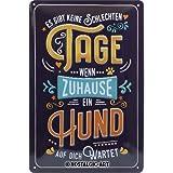 Nostalgic-Art 22290 - PfotenSchild - Wenn Zuhause Ein Hund wartet, Retro Blechschild, Vintage-Schild, Wand-Dekoration, Metall, 20x30 cm
