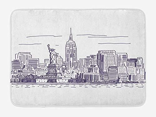 New York Bath Mat, Sketchy Simple View of NYC Statue of Liberty Freedom Symbol Ellis Island Print, Plush Bathroom Decor Mat with Non Slip Backing, 15.7X23.6 inch, Purple White