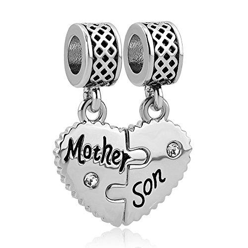 """Uniqueen, charm madre e figlia, con scritte in lingua inglese """"mother"""" e """"daughter"""", adatto a braccialetti con charm pandora, troll e chamilia e base metal, cod. uq_dpc_my802"""