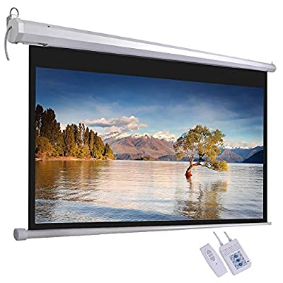 ReaseJoy Electric Motorized/Manual Projection Screen Matte White Projector Home Theater