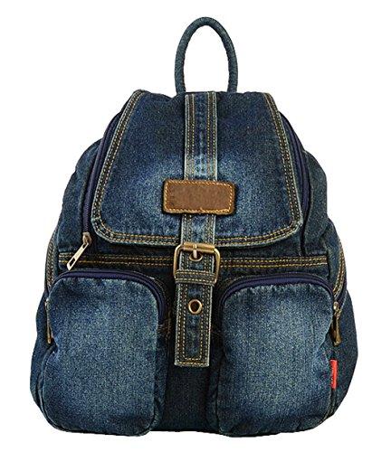 SAIERLONG Women's And Girl's Backpack School Bag Travel Bag deep blue jean