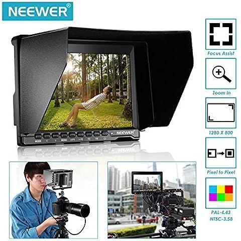 Neewer NW759 Écran moniteur de champ avec 1 mini câble HDMI 1 280 x 800 IPS pour BMPCC Câble AV pour FPV Ratio d'affichage réglable 16:10 ou 4:3 Pour Sony Canon Nikon Olympus Pentax (Alimentation et Batterie ne sont PAS inclus)