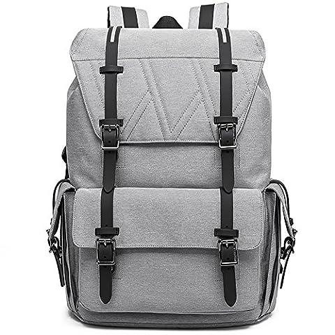 Sac à Dos Ordinateur 17 Pouces Multifonctionne Sac a Dos Weekend Scolaire College Sport Backpack pour Homme Femme ,Gris