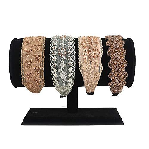 Preisvergleich Produktbild Stirnband Aufbewahrungsständer Armbandhalter T-Bar Schwarz / Grau Samt Schmuckvitrine Ständer für Halsketten,  Armbänder und Ringe Halter für die Organisation zu Hause (Farbe : Black)