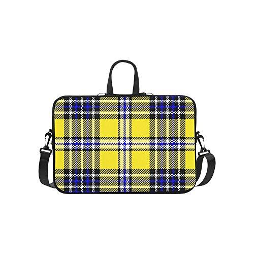 Nette gelbe Gitter Muster Aktentasche Laptoptasche Messenger Schulter Arbeitstasche Crossbody Handtasche für Geschäftsreisen (Blazer Gelb Plaid)