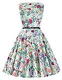 Damen elegant 50s mode rockabilly kleid sommerkleid a line knielang petticoat kleid Größe XL CL6086-40