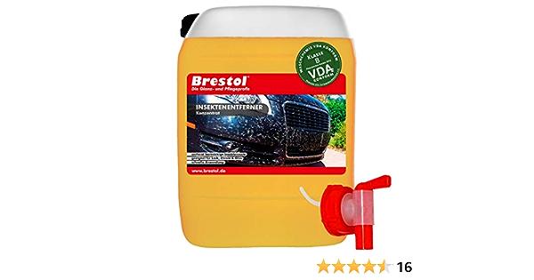 Brestol Insektenentferner 5 Liter Konzentrat Inkl Auslaufhahn 51 Mm Insektenlöser Insektenreiniger Polycarbonat Vogelkotentferner Spezialreiniger Alkalisch Auto