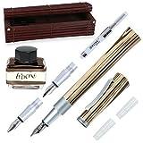 Online Kalligraphie-Füllhalter Newood, Schönschreib-Füller, natürliches Wawa-Holz in braun, 3 Strichstärken 0,8 1,4 und 1,8 mm, enthält ein Tintenglas mit brauner Tinte (15ml), Bullet Journal
