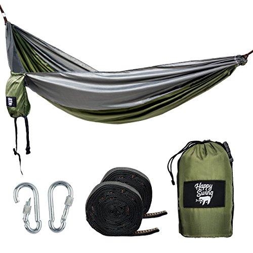 Happy Swing Hängematte zum Aufhängen aus reißfestem Nylon ultra-leicht (270 x 140 cm, 240 kg Traglast) im Set inkl. Befestigung - 2 x 300kg-Schwerlastgurt und 2 x verschließbarer Karabiner für Outdoor und Camping. Ideale Reise-Gadget für unterwegs.