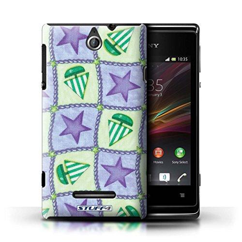 Kobalt® Imprimé Etui / Coque pour Sony Xperia E / Vert/Rouge conception / Série Bateaux étoiles Pourpre/Vert