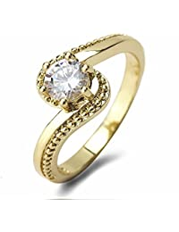 Aashya Mayro Alluring Sparkling 5MM AAA+ Quality CZ Diamond With 18k Gold Plated Valentine Ring For Women Girls...