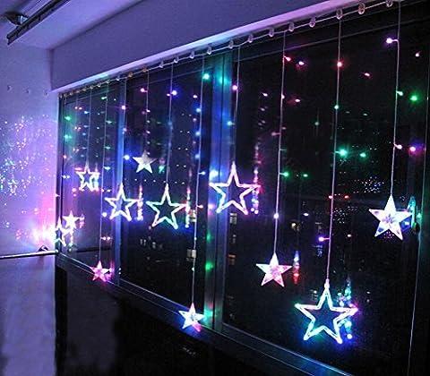 Bellabrunnen Romantisch LED Lichterkette 114 Stern LEDs Vorhang Lichtervorhang 8 Modi 1.6m Breit Blinken für Weihnachten Xmas/ Hochzeit / Party, Weihnachtsbeleuchtung, Schnur Eiszapfen Eisregen, Bunt