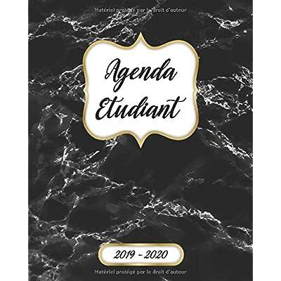 Agenda Etudiant Semainier 2019 2020: Agenda Scolaire 2019-2020   Journalier, Calendrier, Organisateur Mensuel Et Semainier   Septembre 2019 à Août 2020   Marbre Noire Image Couverture