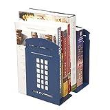 1Paar Nostalgic London Telefonzelle Buchstützen British Style Haarverdichtung Eisen Buchstützen für Regale Bibliothek Buchstützen Office quadratisch Metall Dekorative Buchstütze Book End Geschenke blau