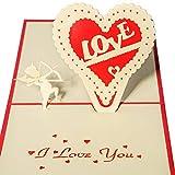 Carte pop-up 3D Carte di Nozze Biglietti di Congratulazioni e Invito per Compleanno San Valentino Nozze Amore Cupido e Cuore Romantico con Busta