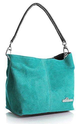 LiaTalia Mini echte italienische Wildleder Einzelriemen Hobo Nietentasche mit Schutztasche - Demi (Handtasche Türkis Italienischen Designer)