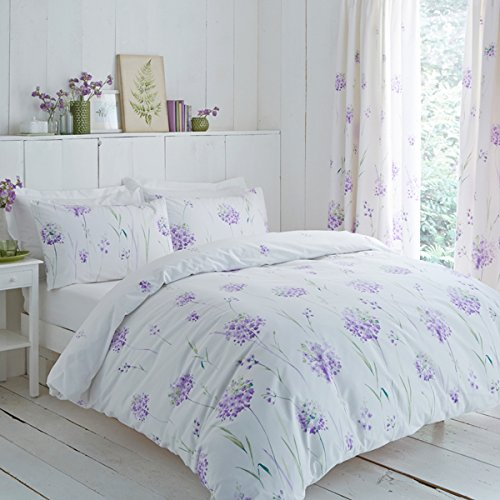 Charlotte Thomas Kendall Flower Print Pencil Pleat Lined Curtains & Tie Backs, Lilac, 66 x 54 Inch