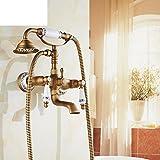 set de ducha de baño de latón/Paquete de ducha vintage/Grifos de la bañera/Europeo ducha caliente y fría-A