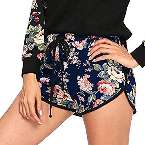 GreatestPAK Badebekleidung Damen Seilgurte Mädchen Mittlere Taille Elastische Lose Shorts Frauen Taille Ringer Sporthose,S,Marine (Bunny Ringer)