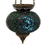 Mosaik Lampe Hängelampe Windlicht Pendelleuchte Aussenleuchte Deckenleuchte aus Glas grün Teelichthalter Orientalisch Handarbeit dekoration - Gall&Zick