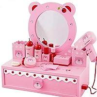 Girls Play Dressing Table Wooden Pink Kids Playroom Toy Make Up Dresser