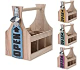 Holz Flaschenträger mit Flaschenöffner - Flaschenhalter Bierträger Flaschenkorb