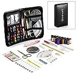 Kit Cucito - Qisiewell 80 Accessori Set da Cucito Emergenza Per Viaggiare o Per Principianti di Alta Qualità Zipper Cucire kit(Nero)