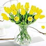 justoyou Künstliche Tulpen, für Hochzeiten, als Dekoration, Textil, gelb, 10 Stück