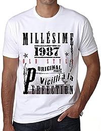 1987,cadeaux,anniversaire,Manches courtes,blanc,homme T-shirt