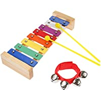 Lictin Baby Xylophone Wooden Xylophone Baby Musical Instruments Multi-color Musical Toy Baby Early Educational Games Mini Musicians with 1 Wrist Bell Perfect Kids Gift
