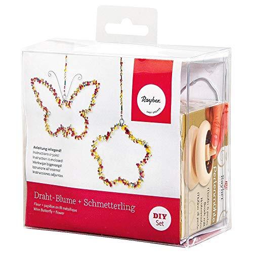 Rayher 24098000 Décoration avec papillons et fleur plastique mélangé 12 x 7 x 11 5 cm