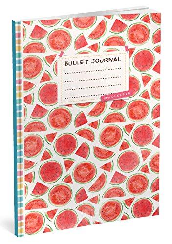Bullet Journal: Punktraster Notizbuch (Ca. A5) + 100 Seiten + Vintage Softcover | TOP Motiv: Melonen | Dotted Grid Notebook, Kaligrafie Papier, Punktpapier +++ Jetzt mit Register +++