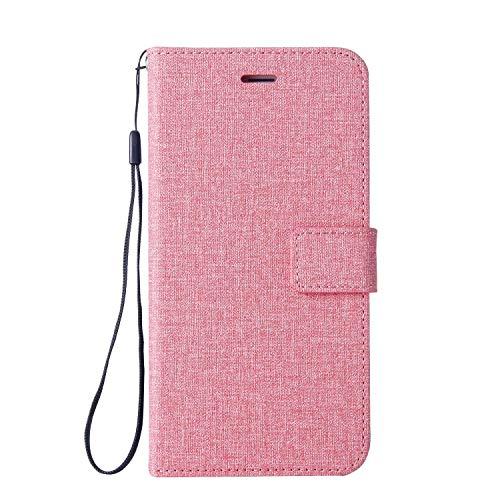 DENDICO Huawei P8 Lite 2015 Hülle, Huawei P8 Lite 2016 Hülle, Flip Brieftasche Handyhülle, Magnetverschluss Leinwand Wallet Etui TPU Schutzhülle für Huawei P8 Lite 2015/2016 - Pink