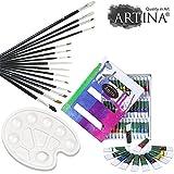 Artina® Set de pinturas con 36 colores acrílicos - Incluye Set de 15 pinceles y paleta de mezclas muy estable