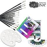Artina 52-tlg. Acryl Malset inkl. 36 Acrylfarben, 15-tlg. Pinselset und stabiler Mischpalette