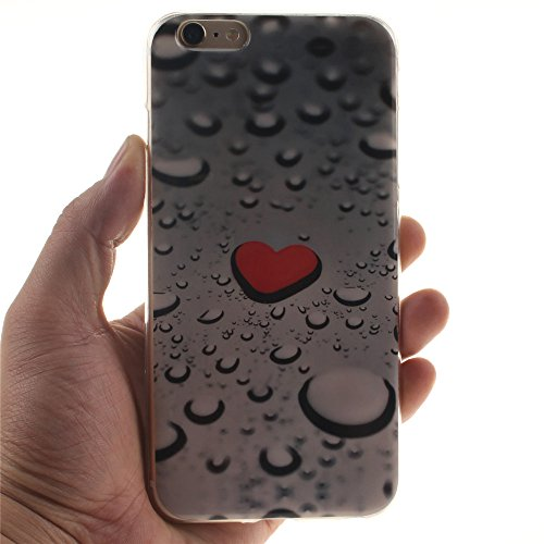 Nancen Ultra Slim Handyhülle für Apple iphone 6 Plus / 6S Plus (5,5 Zoll), Bunt Muster Painted Premium Etui Weich TPU Material Hülle Case Cover Schutz Silikon Schutzhülle Handy Backcover - Anti-kratzf Herz Wassertropfen