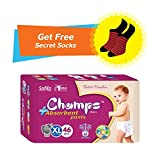 #4: Champs High Absorbent Premium Wonder Pant Style Diaper (Pack of 1)(Free 1-Pair Socks)| Premium Pant Diapers | Premium Diapers | diaper pants | diaper large size pants | diaper extra large size pants | diaper small size pants | diapers combo pack | (Extra-Large, 46)