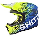SHOT Casco Cross Furious Counter, blu/Neon/Giallo Opaco, Taglia L