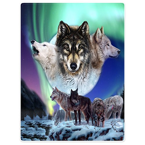 Dick Decke Weich Wärme Gemütlich Flanell-Fleece Sofadecke Deckeldecke Wölfe Aurora Schneewald 150 x 200 cm Aurora Fleece