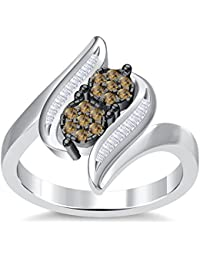 Silvernshine 3.5Ct Round Cut Sim Citrine Diamonds 14K White Gold Plated Engagement & Wedding Ring