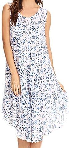 Sakkas 17705 - Yara manches Casual Summer Cotton Imprimer Plage Cover Up Robe trapèze Tank - Blanc / Bleu -