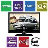 HKC 17H2 43,9 cm (17 Zoll) LED-Fernseher (HD-Ready, Triple Tuner, H.265 HEVC, CI+, Mediaplayer USB 2.0, 12V Kfz-Ladegerät) [Energieklasse A+]