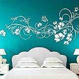 Wandora G021 Wandtattoo Blumenranke I weiß 197 x 78 cm I Schmetterlinge Wandaufkleber Blumen Ranke Wohnzimmer Schlafzimmer Wandsticker