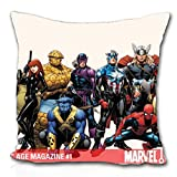 Iron Man Thor Spiderman Captain America Black Widow Marvel Comics Hawkeye les gorilles Héroïque minimum Thingthrow Taie d'oreiller (45,7 x 45,7 cm)