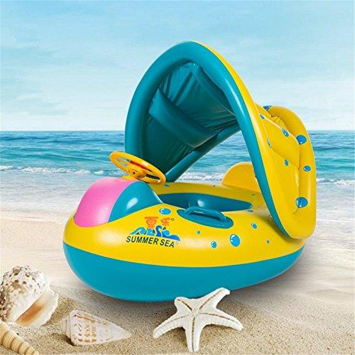 Yeasing ys gonfiabile bambino anello di nuoto con parasole regolabile piccoli galleggiante barca nuotare sede bambini anello gonfiabile in piscina giocattolo acquatico