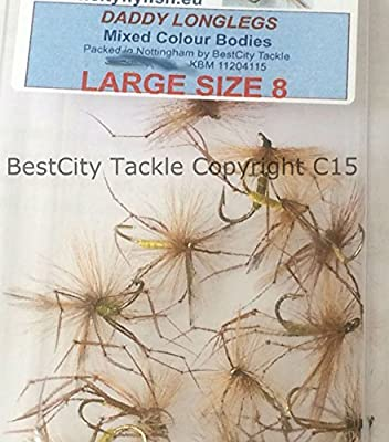 Fishing Flies LARGE DADDY LONGLEGS SIZE 8 Trout Rod Reel UK 12 Flies Mixed Patterns PACK#30 by BestCity Tackle