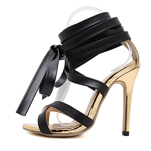GS~LY Regali Festa della mamma L Europa e gli Stati Uniti del piede le cinghie ad anello cool stivali Black