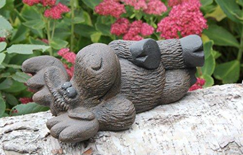 Steinfigur Elch liegend Dunkelbraun, Deko Figur Garten Stein Frostsicher